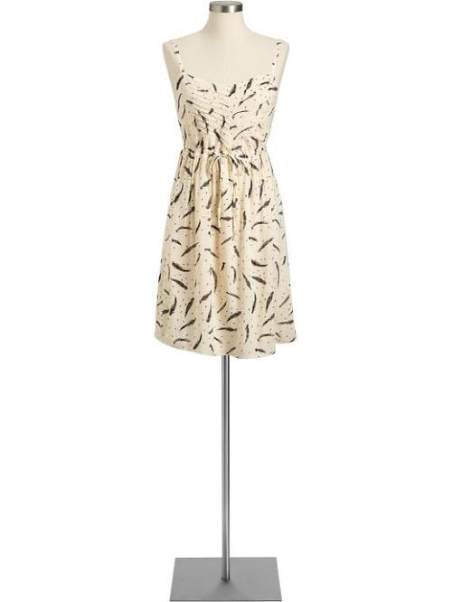 Feather-Print Drawstring Sundress, $28 (with code ONEXTRA15) The print on this dress is to die for! You could pair it with a black cardigan, tights and flats in the winter, or go for bright pops of color in your accessories for spring and summer.