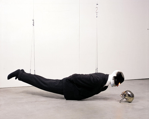 "weeklyartist:  Bernardí Roig ""Exercises in Levitation"" Bronze, Fire, Fabric, Propane Gas, Silver Leaf, Cable n.d."