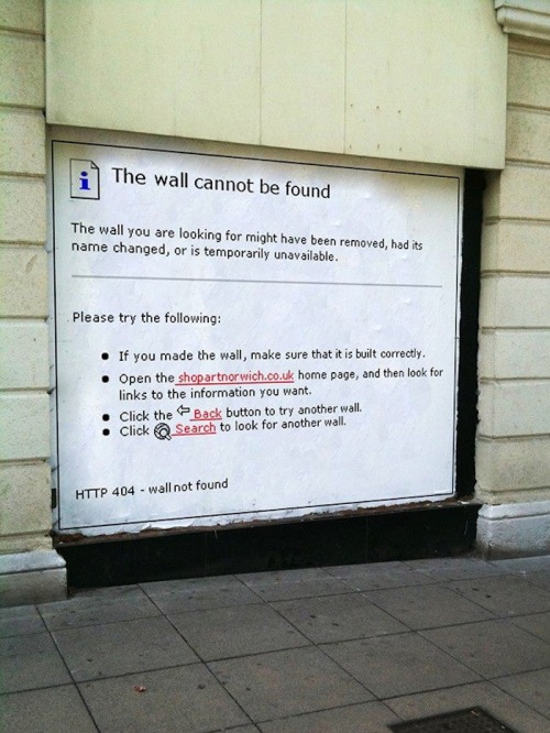 "Street Art meets #Facebook: ""The Wall Cannot Be Found."" via @thecreatorsproject thecreatorsproject:  Architectural malfunctions."
