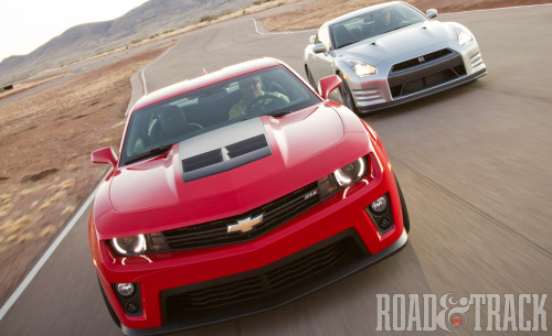 2012 Chevrolet Camaro ZL1 vs. 2013 Nissan GT-R Premium: Team America takes on Godzilla. (Source: Road & Track)