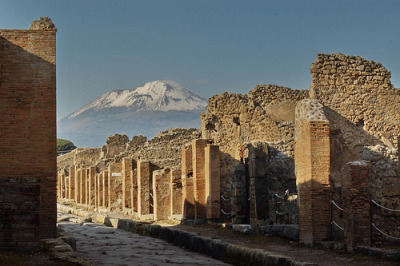 Snow-capped Vesuvius, over a Pompeii street. By Catello Imperatore, an old excavation companion & Pompeii native.