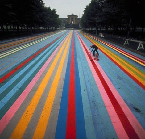 philamuseum:  Gene Davis painting 'Franklin's Footpath' in front of the Philadelphia Museum of Art, featured in the June 16, 1972 issue of Life Magazine