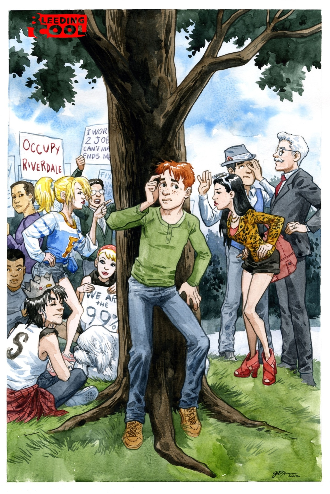 Jill Thompson's gorgeous art for an Occupy Riverdale issue of Archie.
