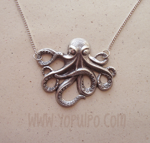Totally unique and totally adorable: This silver plated octopus nacklace is now available from our temporary eBay store! Click the link x