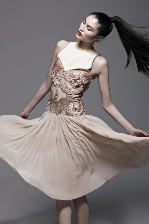 Embroidered blush and ivory silk chiffon Aquilano Rimondi dress paired with the perfect ponytail. (The Book)