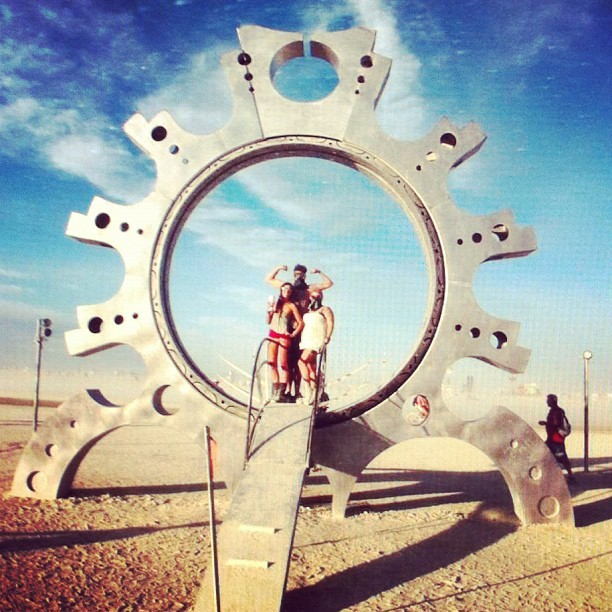 day 21 : favorite photo of me … Burning Man 2011 with a couple amazing friends )'( burn burn burn ❤🔥