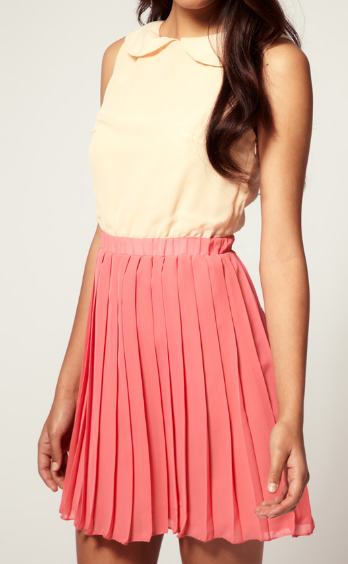 Dress like Rachel Berry: Rare peter pan collar colour block pleated dress $39.39 from ASOS
