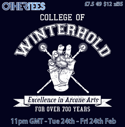 "videogamenostalgia:  ""College of Winterhold"" is now on Othertees for the next 3 days, pick it up at a cheap price while you can. (via: adho1982)"