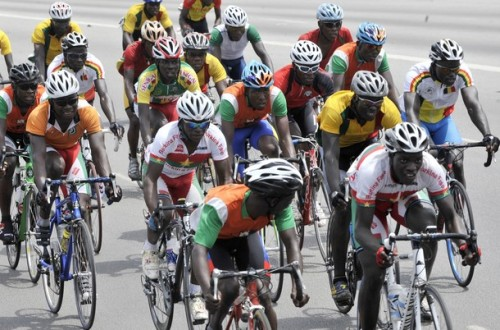 Cyclists compete during the second edition of the Economic Community of West African States (ECOWAS) International Cycling tour on February 19, 2012 in the Treichville neighborhood of Abidjan. The Ecowas Cycling Tour started on February 15, 2012 in Lagos, Nigeria and will end in Abidjan on February 19, 2012. Traore Bekaye of Senegal won the stage from Aboisso to Abidjan. (via Photo from Getty Images)