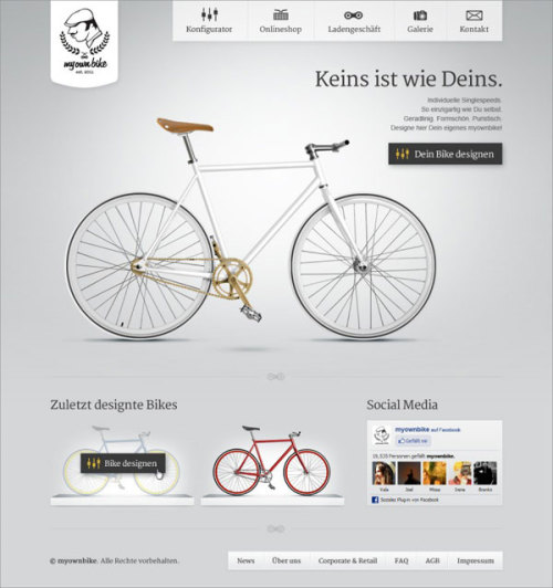 "weandthecolor:  Web and User Interface Design for Myownbike  ""Myownbike"" is a bicycle manufacturer for custom singlespeed und fixed gear bikes from Düsseldorf, Germany. The design studio ""DieTaikonauten"" created the full corporate identity and design/development for the online bike configurator. source: designmadeingermany.de via: MAG.WE AND THE COLORFacebook // Twitter // Google+ // Pinterest"
