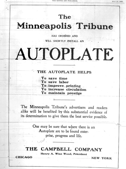 "Editor & Publisher, July 29, 1905. Minneapolis: ""enterprise, progress and life."""