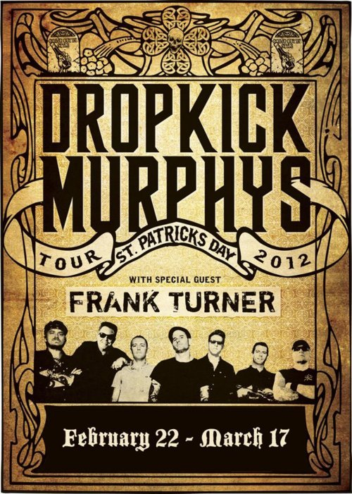 Our favorite Irish-punkers Dropkick Murphys are back in the states for their annual St. Patrick's Day tour. Frank Turner will be hitting the stage as well, fresh off a supporting slot with our buddies in Social D. Kilts, pints, and a hearty dose of punk rock. That's what St. Paddy's Day is really about, right? Right. Hit up dropkickmurphys.com for dates and locations. Tour starts tomorrow!