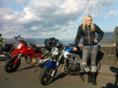 My dear friend Brooklyn Harmon and her blue SV650. Photo by yours truly.