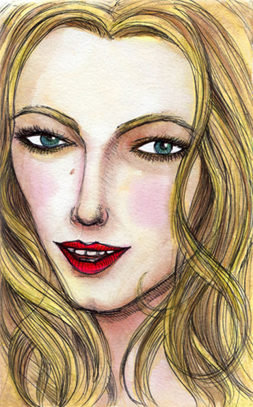 *Where you've been Serena?* Portrait of Blake Lively Watercolor, ink pen
