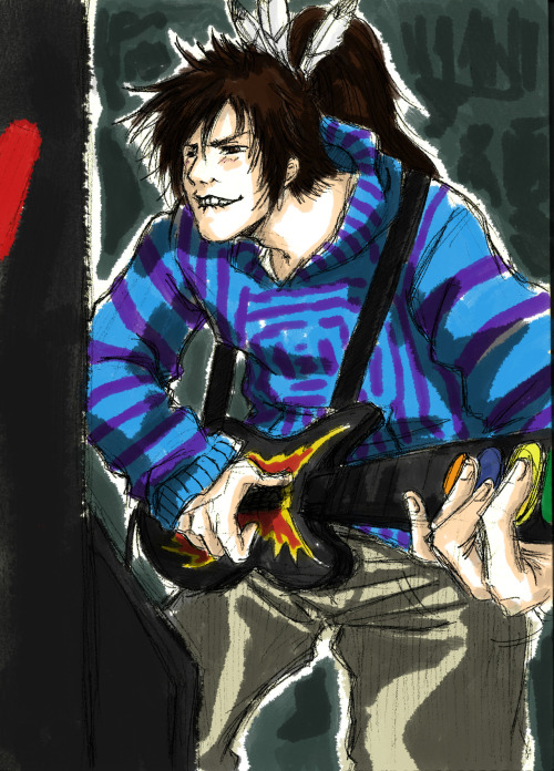 Keiji rockin' in the arcades! …So I learned that Keiji in BROsara's really good at guitar hero.  After that, this just had to happened. GO CHECK IT OUT.  IT'S AWESOME.