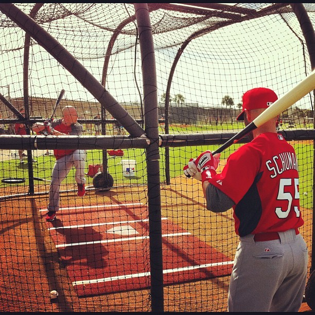 derrickgoold:  52/366 A view from batting practice, with St. Louis Cardinals utility fielder Skip Schumaker waiting his turn while teammate Matt Holliday (leg kick in midseason form) takes his last few cuts of the round. Cardinals position players do not have to report to spring training in Jupiter, Fla., until later this week. (Taken with instagram)