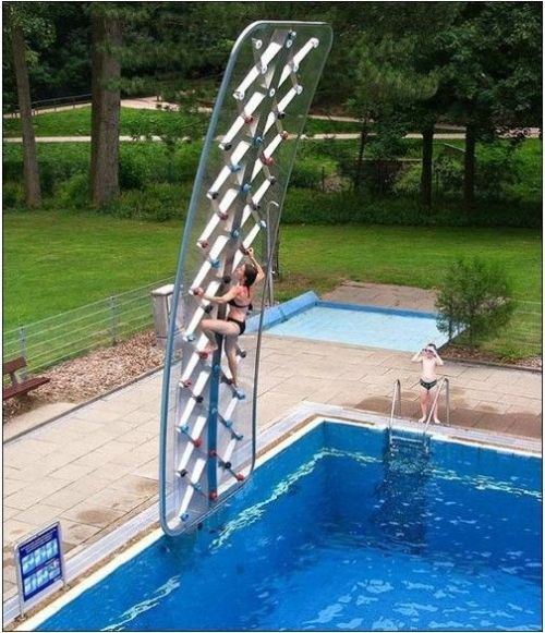 I want this! (The climbing wall; not the kid in the Speedo.)