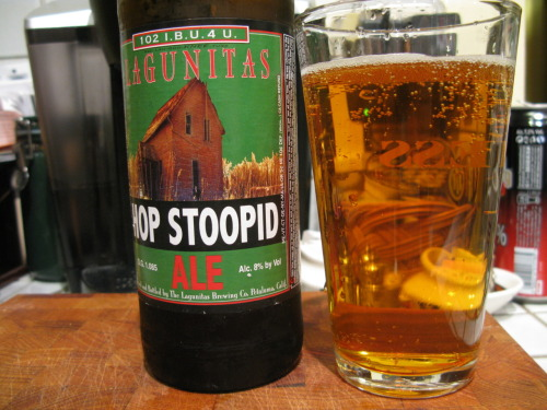 "Beer: Hop Stoopid AleBrewery: Lagunitas Brewing Co.Location: Petaluma, CAType: AleIn Three Words: intense, hoppy, bold America's premier ""brewpaper"" The Celebrator calls this beer ""big and stinky"". They mean it in the best way, and so do I. This beer is so incredibly hoppy, it's stupid (or stoopid, I guess). I have to admit I have been growing increasingly jaded about the hop trend that has been going on for beers these days; some times the beers just come out simply way too bitter and it is difficult to enjoy them without feeling like your cheeks are being constantly pinched. But Lagunitas does it right. They blend that hoppiness with an array of other flavors that just makes it balanced and great tasting.  The citrus under-taste (if I may invent a term) mixed with a really nice malt flavor is what keeps this beer from being overly bitter. The first thing I noticed upon tasting it is actually a sweet flavor mixed with the malt, and then the bitterness after. Despite this, the beer itself is very light. Not dark or intense in the heavy way; the intensity of the flavor comes from the very bubbly quality (could rival a champagne) mixed with that intense hop that they are doing so well. All around, light but intense, bold without being overwhelming. Stoopid good."