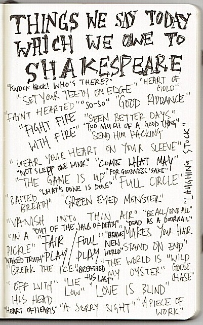 Things We Say Today Which We Owe To Shakespeare Found this picture originally at the home page of  author Gail Carriger (www.gailcarriger.com) Very interesting to see how much we owe to The Bard!