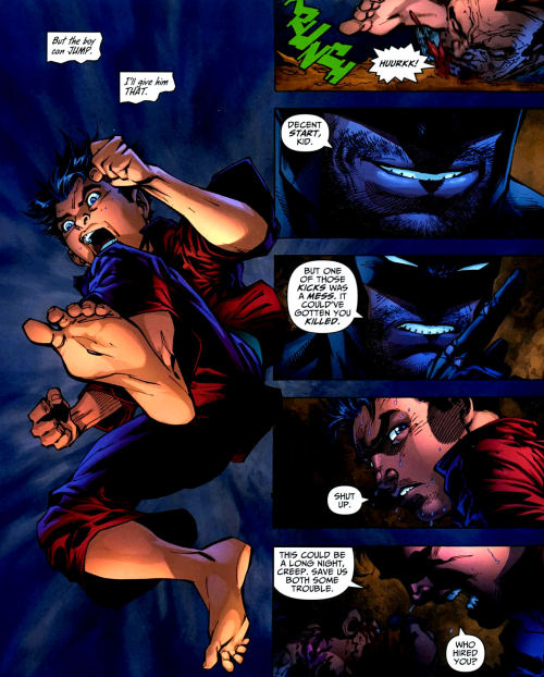 thegoshdarnrobin:  Frank Miller's Dark Knight Universe Grayson would be awesome versus Damian in a fight!