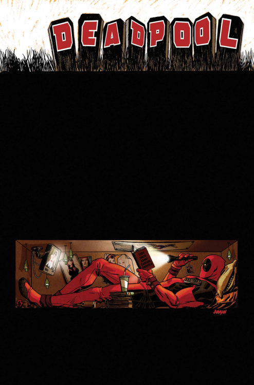 keaneoncomics:  Judging by this cover for Deadpool #54, Wade's an Adam Hughes fan. (Look very closely at the pin-ups inside the coffin!)