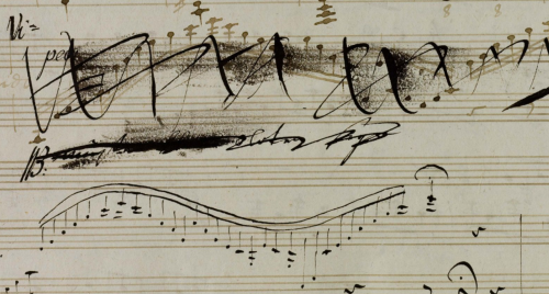 missfolly:  Musical notation by Ludwig van Beethoven (I)  What I find interesting is that the crossed out sections look like they're faded - as if this was old stuff he was revisiting (I have no idea if that's true or not - I'm a writer, I make up stuff all the time la la la). But I'd like to think that it's the same deal as when I wrote stuff 10 years ago and I'm revisiting it now and going OMG WHUT HOW DOES THIS CRAP EVEN D: and crossing EVERYTHING out with BIG BOLD BLACK MARKS while laughing maniacally before finally writing down how things SHOULD have happened. (Well, except that I'm not Beethoven, of course, so even what I write now is probably not, you know, like Symphony No. 7 or something.)