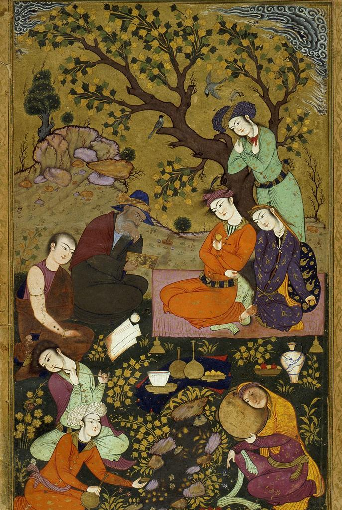 missfolly:  Lovers in a Garden, ca. 1625, by an anonymous Persian artist