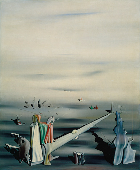 cavetocanvas:  Yves Tanguy, The Satin Tuning Fork, 1930 From the Heilbrunn Timeline of Art History:   By 1927, the self-taught Tanguy had found his own personal style and acquired amazing technical skill. From then until his death in 1955, he focused on the same dreamlike subject—an imaginary landscape, deserted except for various fantastical rocklike objects, rendered with precise illusionism. Usually filled with an overcast sky, the plain below stretches toward infinity without an exact horizon line. If Tanguy's eerie vistas are pure invention, the three-dimensional, biomorphic objects that fill them may have their sources in early reliefs by Jean Arp and the paintings of 1922–23 by Joan Miró, two artists whose works were exhibited in Paris at the time. It is also possible that Tanguy was influenced by the strange stone and rock formations near Locronan in Brittany, where he sometimes visited his mother. Tanguy's style varied little throughout the years. Even his move to the United States had little effect on his work, although it would bring about important changes in his personal life. In New York, he joined the American Surrealist painter Kay Sage (1898–1963), and they married in 1940, the year of this painting. The long phallic form in the center of the composition may in fact reference this new relationship.
