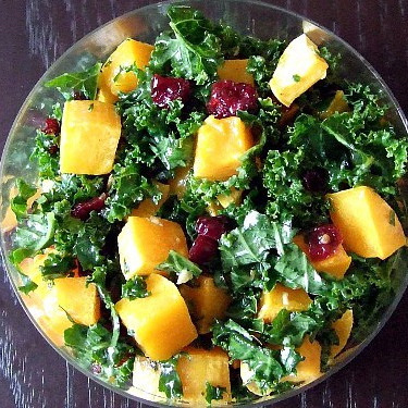 Roasted butternut squash and kale salad.