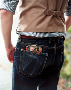 3sixteen:  micronhero:  Photo: Ryan Fish  These jeans are progressing along nicely.