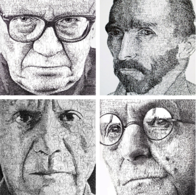 Handwritten portraits of writers & painters by Anatol Knotek