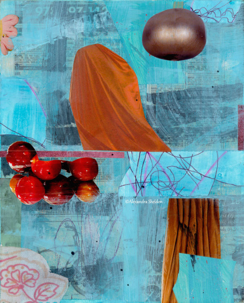 Blue Mixed Media Collage with Berries http://alexandrasheldon.com/index.php?page=contactus