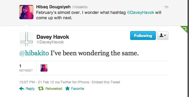 Davey Havok tweeted me back today! This makes me really, really REALLY happy! :D