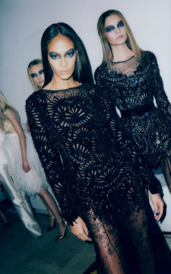 somethingvain:  Prabal Guring F/W 2012 RTW, Joan Smalls backstage