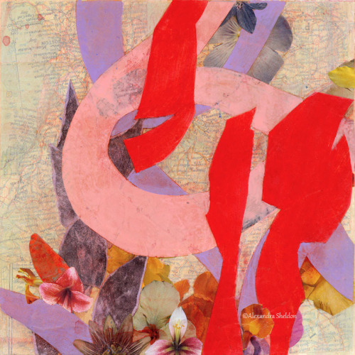 pink and red mixed media collage with map http://alexandrasheldon.com/index.php?page=contactus