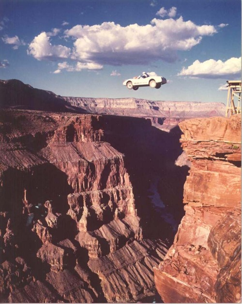 possiblyplausible:  Dar Robinson jumping the Grand Canyon (via)  I'm doing this some day.