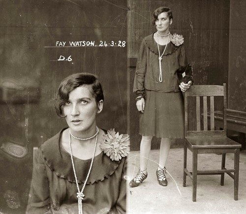 owlectomy:  Mug shots from 1920s Australia Fay Watson was arrested in 1928 for possession of cocaine. She was fined 10 pounds.