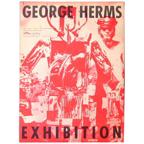 Wallace Berman offset lithograph poster for a George Herms Exhibition at Batman Gallery, 1961.