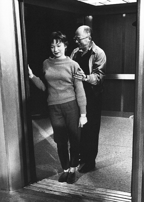 Shirley MacLaine and Billy Wilder on the set of The Apartment, 1960. Photographed by John Hamilton.