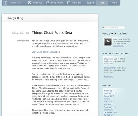 Cultured Code have now opened up their Beta testing of Cloud sync. I've been using the Beta Cloud sync for the last few months and it is awesome!  Is things the best GTD solution for Mac, iOS devices. I think so….