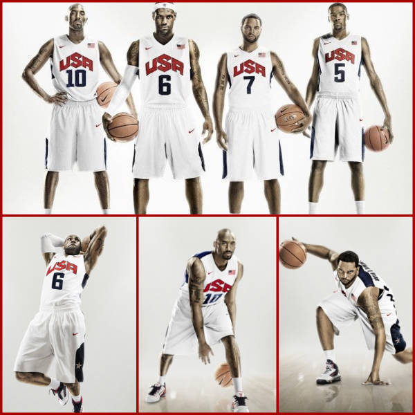 Nike has unveiled the Hyper Elite uniforms that Team USA Basketball will be wearing when they take the court at the 2012 Summer Olympics in London.  Featuring 2008 Gold Medalists Kobe Bryant, LeBron James, Deron Williams, Tamika Catchings and 2010 FIBA World Champion Kevin Durant, the uniforms are a slight tweak from their previous Nike uniforms with an updated USA logo.