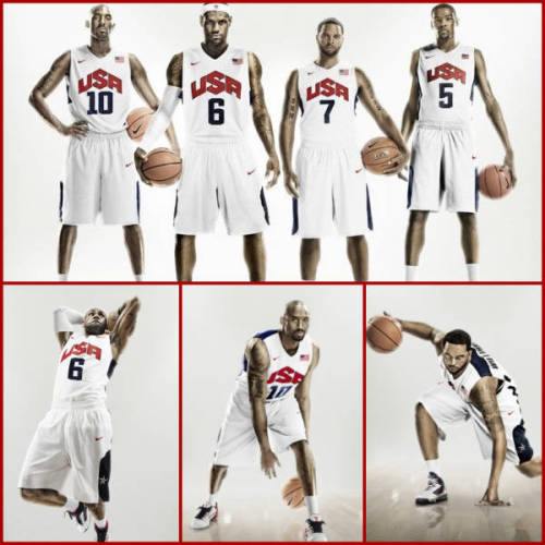 nbaoffseason:  New Team USA jerseys. What do you guys think, better than the last one? thescore:  Nike has unveiled the Hyper Elite uniforms that Team USA Basketball will be wearing when they take the court at the 2012 Summer Olympics in London.  Featuring 2008 Gold Medalists Kobe Bryant, LeBron James, Deron Williams, Tamika Catchings and 2010 FIBA World Champion Kevin Durant, the uniforms are a slight tweak from their previous Nike uniforms with an updated USA logo.