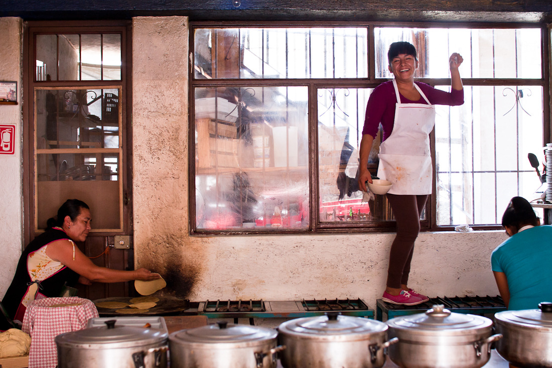 tortilla making, window washing, dish washing. valle de bravo, mexico. november 2011.