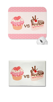 Cupcake VS Cheesecake Mousepads Cupcake VS Cheesecake Magnet Copyrights © Rococo Nika Galleryfrom Colorful Nika Store and Rococo Nika CafePress Store   See other Cupcake VS Cheesecake products!