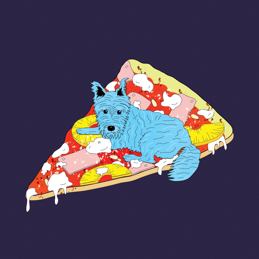 foodverses:   Blue Dog Pizza In places like these, the Christmas lights will always stay upyear round— framing bare trees in fuzzy reddish glowing.Wishes are wrapped in Gouda and basil and star clouds.He only likes talking about what is happening now.I only like talking about what's happened before.He asks questions I don't or won't answer…except for one about the old man and hismotorbike parked in the tree shadows.I say that this might be the last decentmeal we eat on this too long street.Sometimes there are blue dogs.There are always wet dogs.Pine nuts love pineapple.Bacon loves coconut.Apple loves soda.Pluto lovespizza.