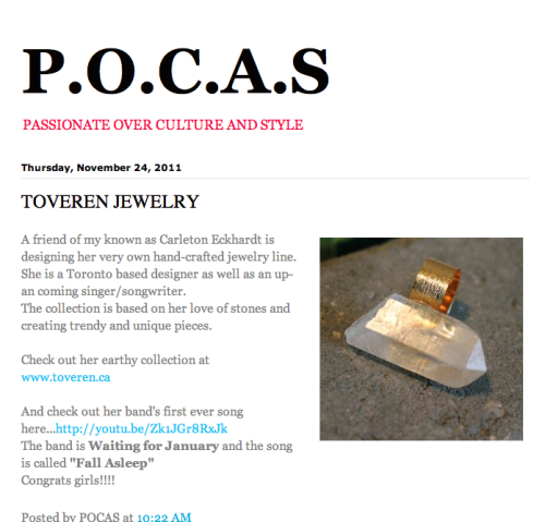Toveren was featured on the blog P.O.C.A.S by stylist and friend Nikoletta Sedlak!