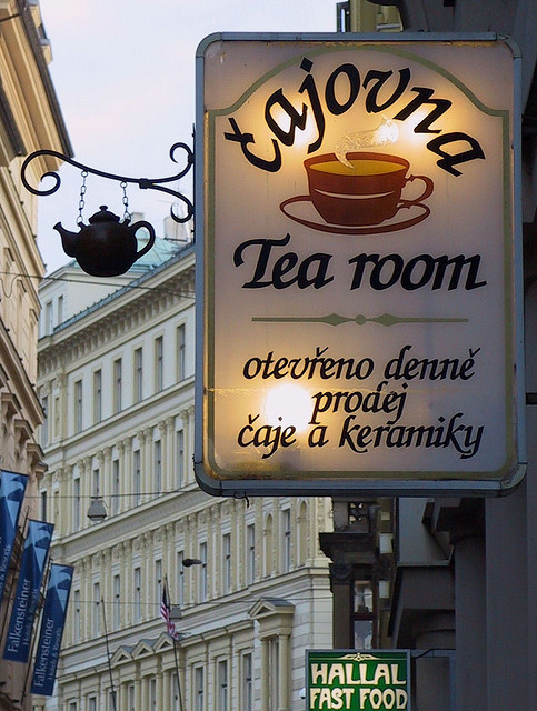 Tea Room Shop Sign, Prague november 2006 by Mo Westein 1 on Flickr.