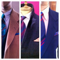 A few of the tie/pocket square combinations @GievesLondon #gievesandhawkes #lfw #attheshows  (Taken with Instagram at Somerset House)