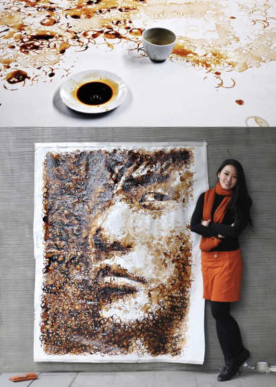 "szymon:  Hong Yi paints using coffee stains  Posts about Shanghai-based artist Hong Yi, who also goes by the name Red, have been making the online rounds recently. Last month, I spotted a photo of her painting of former Houston Rockets basketball player Yao Ming, for which she used a basketball to apply red paint to some surface (canvas? paper?), and now this coffee-rendered piece has turned up. Check out her work, if you haven't seen it. [A time-lapse video (here) of Red moving her coffee cup to ""paint"" the above-pictured piece is interesting to watch.] See also: Earlier Unconsumption posts on creative uses of natural materials here."