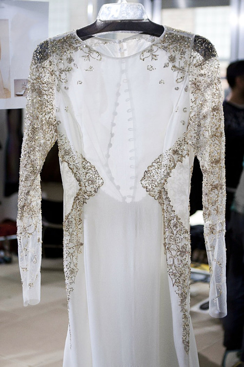 styletrove:  Delicate beaded dress backstage @ Prabal Gurung